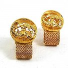 Vintage 1970's Goldtone ZODIAC PISCES Wrap Around Cufflinks 101817