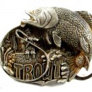 1982 Rainbow Trout Fish (Silvertone In Color) Belt Buckle by M&Ms 82614