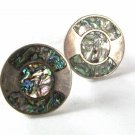 Vintage Large Mexican Sterling Silver Abalone Cufflinks By Y.M.G. 41416