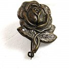 Vintage Silvertone Rose Brooch / Pin By G. FROSI MILANO 81417