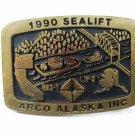 1990 Sea Lift ARCO Alaska Inc Brass Belt Buckle by ANACORTES U.S.A.
