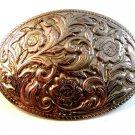 Vintage Silver Tone Western Cowboy Belt Buckle nn