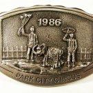 1986 Park City Utah Circus Belt Buckle by Michael Ricker 11215 W Original Box