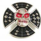 Silvertone Black Red Skull Eyes Mean Looking Belt Buckle 41017