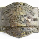 Livingston Wells & Co. Sailing Ship Foreign Domestic Belt Buckle Unbranded 11715
