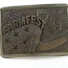 1976 FARMFEST Farmers Brass Belt Buckle By LEWIS BUCKLES 11316