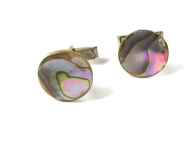 Vintage Round Abalone Silver Tone Cufflinks PAT. PEND. 8116