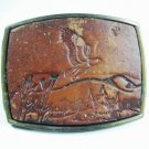 Vintage Leather American Eagle Flying Belt Buckle Made In U.S.A. 101615