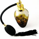 Gold Tone Green & Black Art Glass Willow Trees Perfume Bottle & Atomizer 1117cb