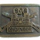 Vintage Army 876th Engineers Battalion Brass Belt Buckle 71217
