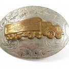1940's - 1950's Nickel Silver Gold Tone 16 Wheeler Truck Belt Buckle 22817