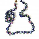 "Chinese Dark Blue Green Flower Bead Knotted Necklace 24"" Unbranded 81915"