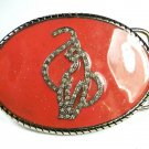 Pink & Silvertone Rhinestones Fancy Cat Belt Buckle Unbranded 101315