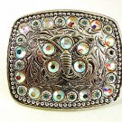 Ladies Silver Plated Pewter Blue Pink Rhinestone Butterfly Belt Buckle 6317