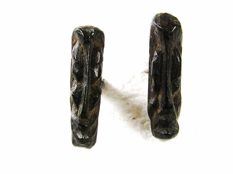 Vintage Sterling Silver Miniature Wooden Tribal Head Cufflinks Hand Carved E8316