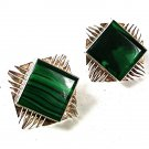 Vintage Mexican Sterling Silver Malachite Clip On Earrings 81516