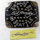 Drawn By In Seattle Black Leather Belt Buckle By ED HARDY 33116a w/ Tag