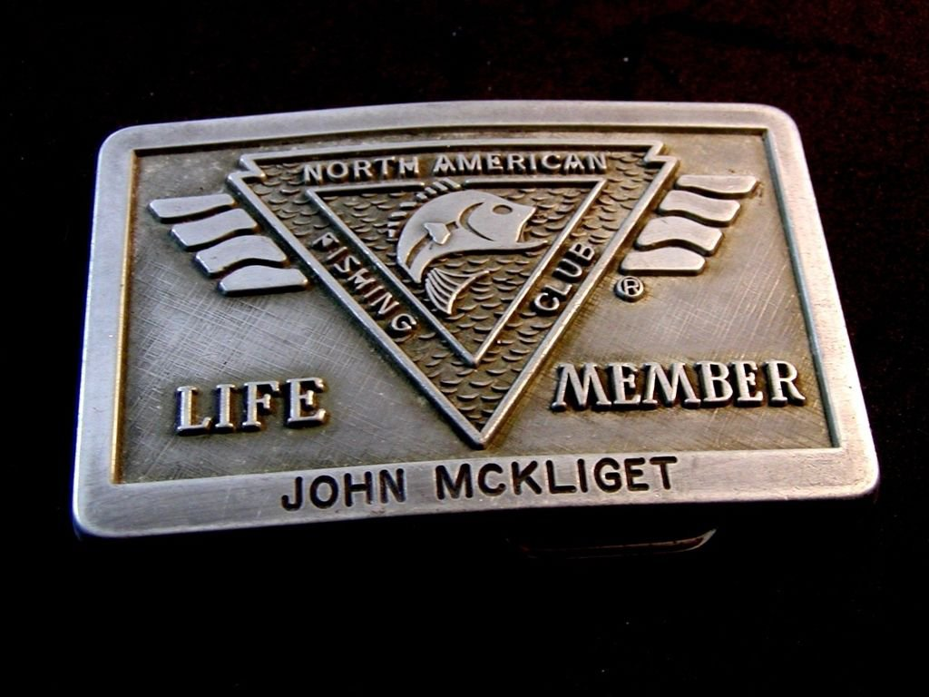 Vintage North American Fishing Club Life Member Belt Buckle John McKliget