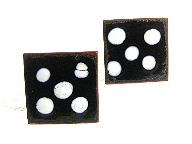 Mid Century Modern 1950's Enameled Copper Black White Domino Cufflinks 73117