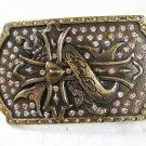 Goldtone Cross Rhinestones Belt Buckle By ED HARDY 33116