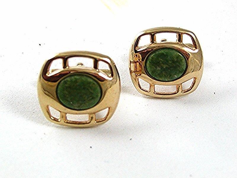 Vintage Goldtone & Green Cufflinks 4317