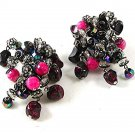 Vintage Purple Pink Crystal Jingly Jangley Dangley Clip On Earrings By HOBE 102
