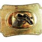 Western Rodeo Cowboy Hat Gun Goldtone Belt Buckle Unbranded 3416