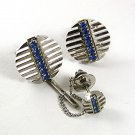 Vintage Silvertone & Blue Cufflnks & Tie Tac 91817