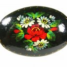 Handmade Russian Group Flowers Red White Lacquered Wood Brooch Signed 9815