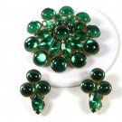 1950's Sparkly Green Rhinestone Brooch & Clip On Earrings Unbranded 51616
