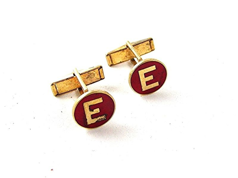 Gold Tone & Red Initial / Letter E Cufflnks 91716