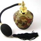 Gold Tone Orange & Green Art Glass Flowers Perfume Bottle & Atomizer 1117ab