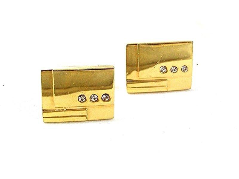 Vintage Goldtone & 3 Small Rhinestones Cufflinks 33017