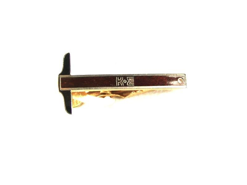 KE T Square Red Black Goldtone Tie Clasp By Kinney Co. 32916