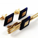 Vintage Gold Tone & Very Dark Blue Cufflnks & Tie Clasp By HICKOK USA 91716