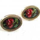 Vintage Goldtone Embroidered Rose Flower Cufflinks 81617