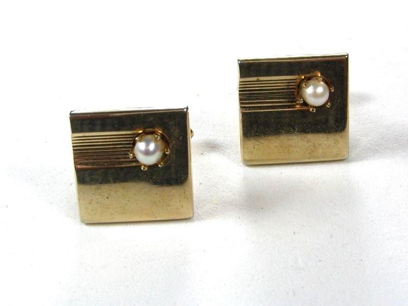 1950's - 70's Gold Tone & Faux Pearl Cufflinks by SWANK 111615