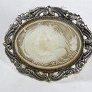 Vintage Silvertone &  Molded Plastic ? Cameo Lady Brooch Unbranded 91215