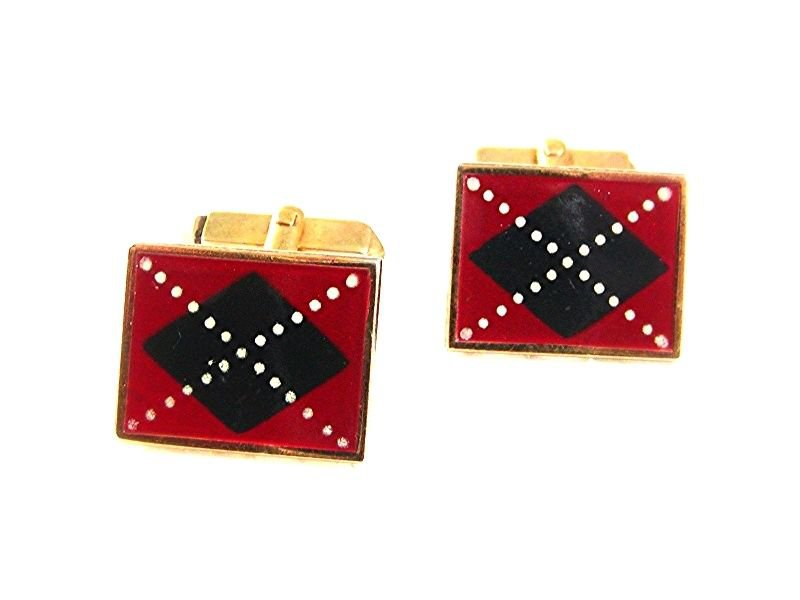 Vintage Goldtone Red Blue White Scotch Plaid Cufflinks By SWANK 71717