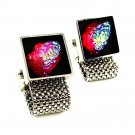 1970's Silvertone & Black & Red Rivoli Wrap Around Cufflinks 51517