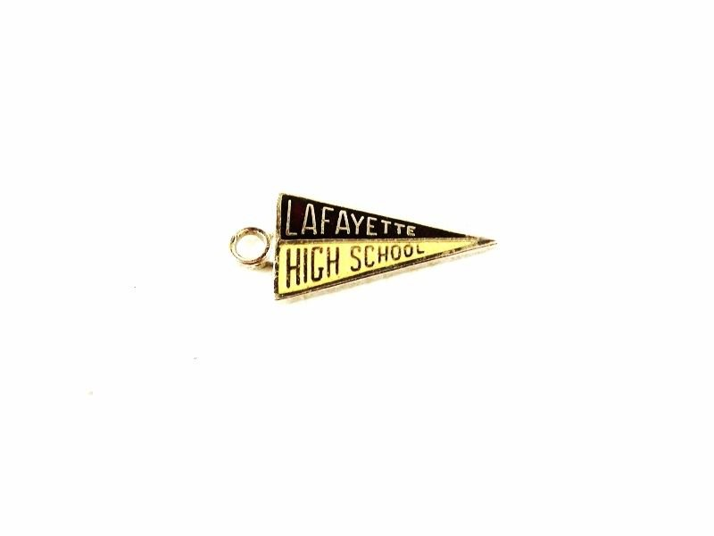 1960's / 70's Red Yellow Silvertone Lafayette High School Charm Unbranded