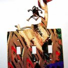 Kokopelli Flute Cactus Triple Switch Cover Plate by Steel ImagesUSA 021915F
