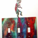 Kokopelli w/ Flute Triple Switch Cover Plate Steel Images USA 021915B