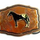 1970's Appaloosa Horse Enameled Coppertone Belt Buckle 092214