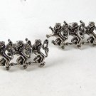 Vintage 3 Dancing Silver Tone Lions Cufflinks By SWANK 111516