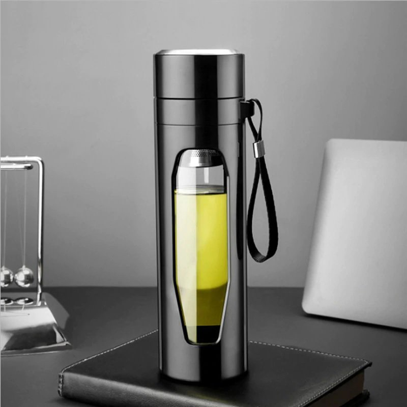 580ml Glass Tea Cup Double Walled Glass Water Bottle with tea infuser