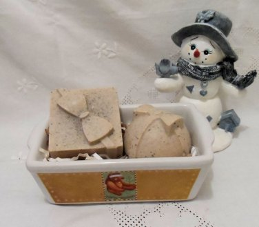 Odor Eating Hand Soap Gift Set with Teddy Bear Pan Two 3.5 ounce bars.