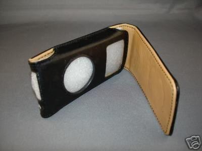 APPLE iPod NANO LEATHER BLACK/BROWN CASE-GENERATION 1/2