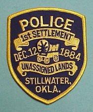 Stillwater Oklahoma Police 1st settlement unassigned lands shoulder patch