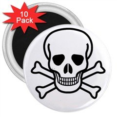 "Jolly Roger 3"" Magnet (10 pack), punk, goth, rock"